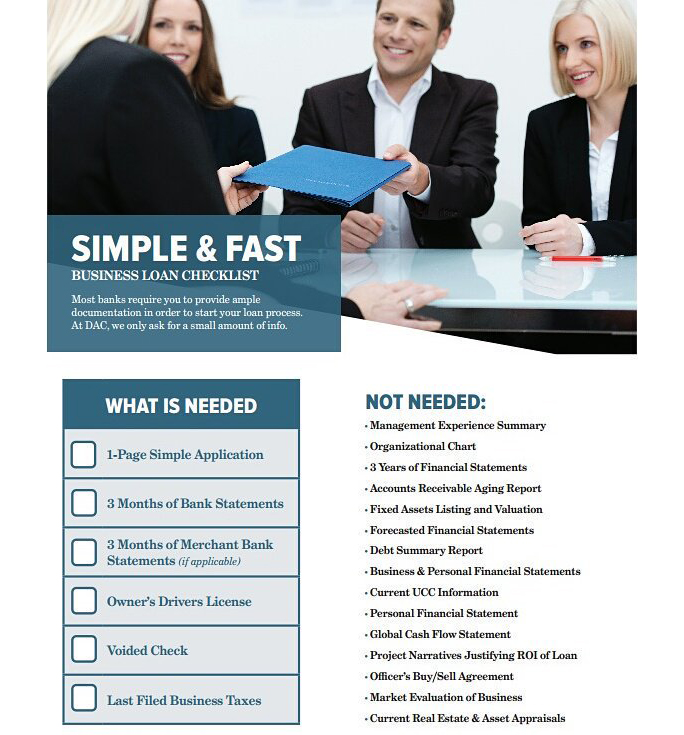 Simple application, no collateral needed, simple business loan documentation